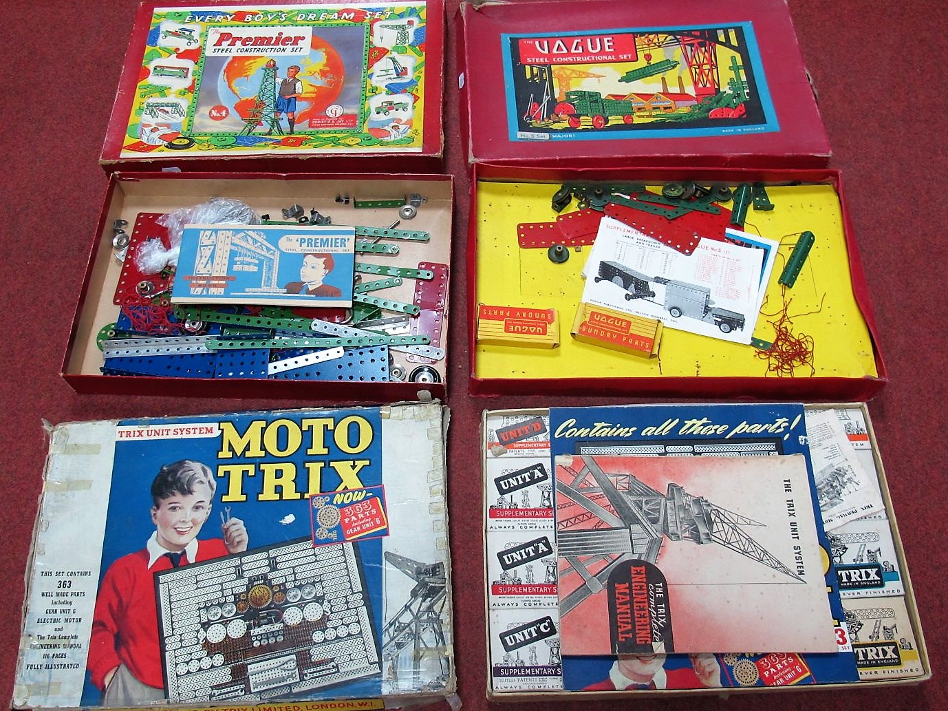 Lot 9 - Three Boxed Mid XX Century Construction Sets, all along the lines of Meccano and unchecked for