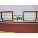 Two Wooden Glass Fronted Display Cabinets, four glass shelves, H60cm, W76cm, D9cm. A part built