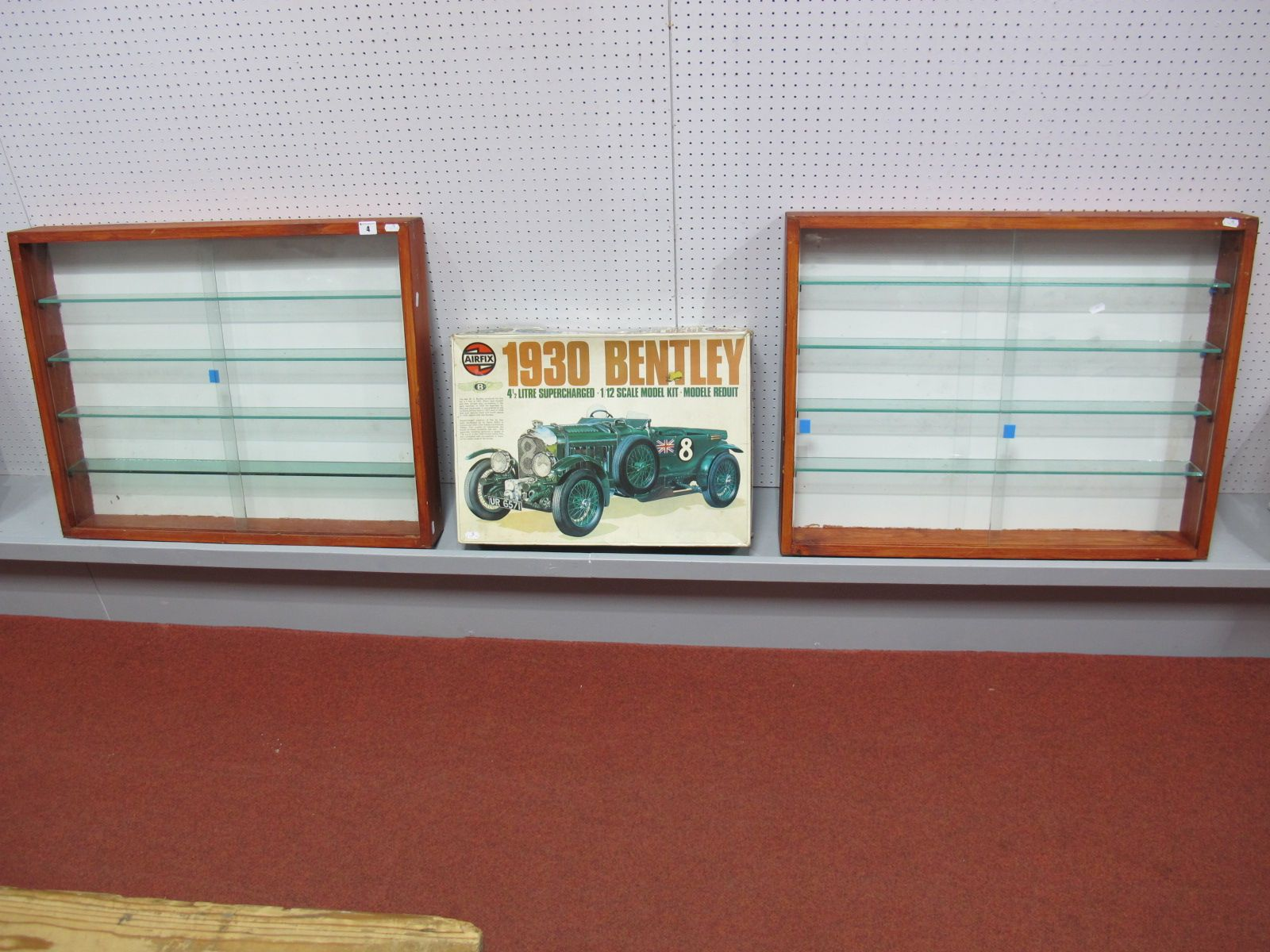 Lot 4 - Two Wooden Glass Fronted Display Cabinets, four glass shelves, H60cm, W76cm, D9cm. A part built