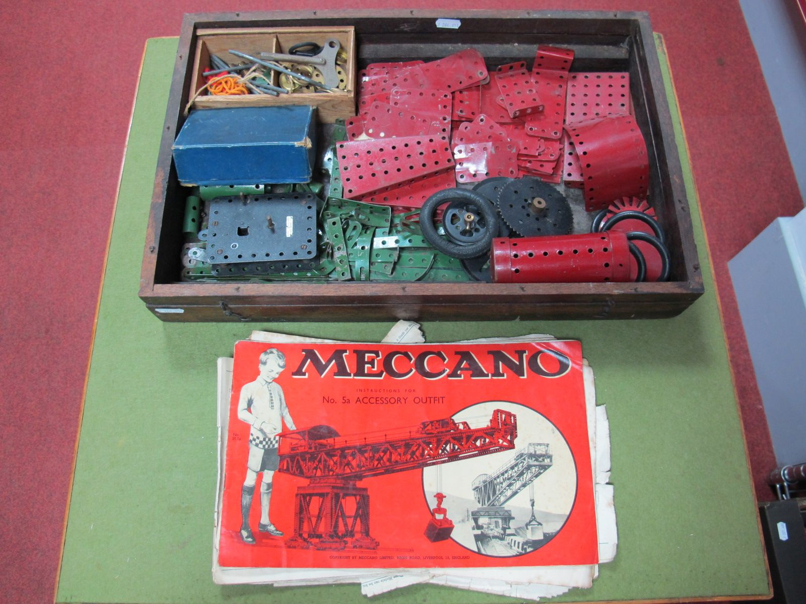 A Quantity of Mid XX Century Meccano, including clockwork motor.
