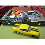Thirteen Diecast Model Cars of Varying Scale by ERTL, Burago, Maisto, including ERTL 1:18th scale