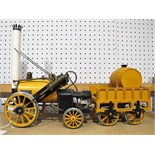 """A Hornby 3½"""" Gauge Live Steam Stephensons Rocket and Tender, model has been steamed but appears"""