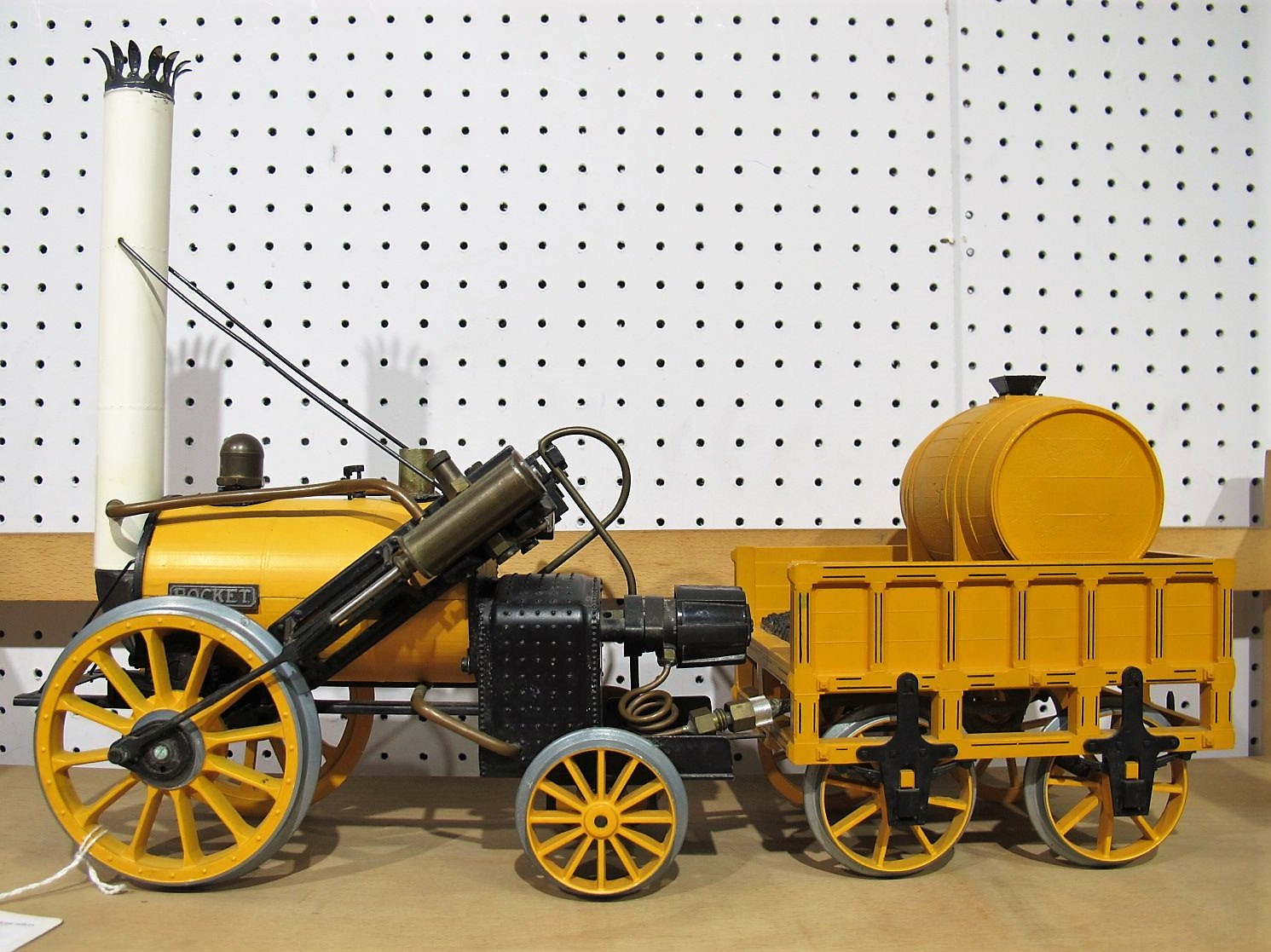 "Lot 15 - A Hornby 3½"" Gauge Live Steam Stephensons Rocket and Tender, model has been steamed but appears"
