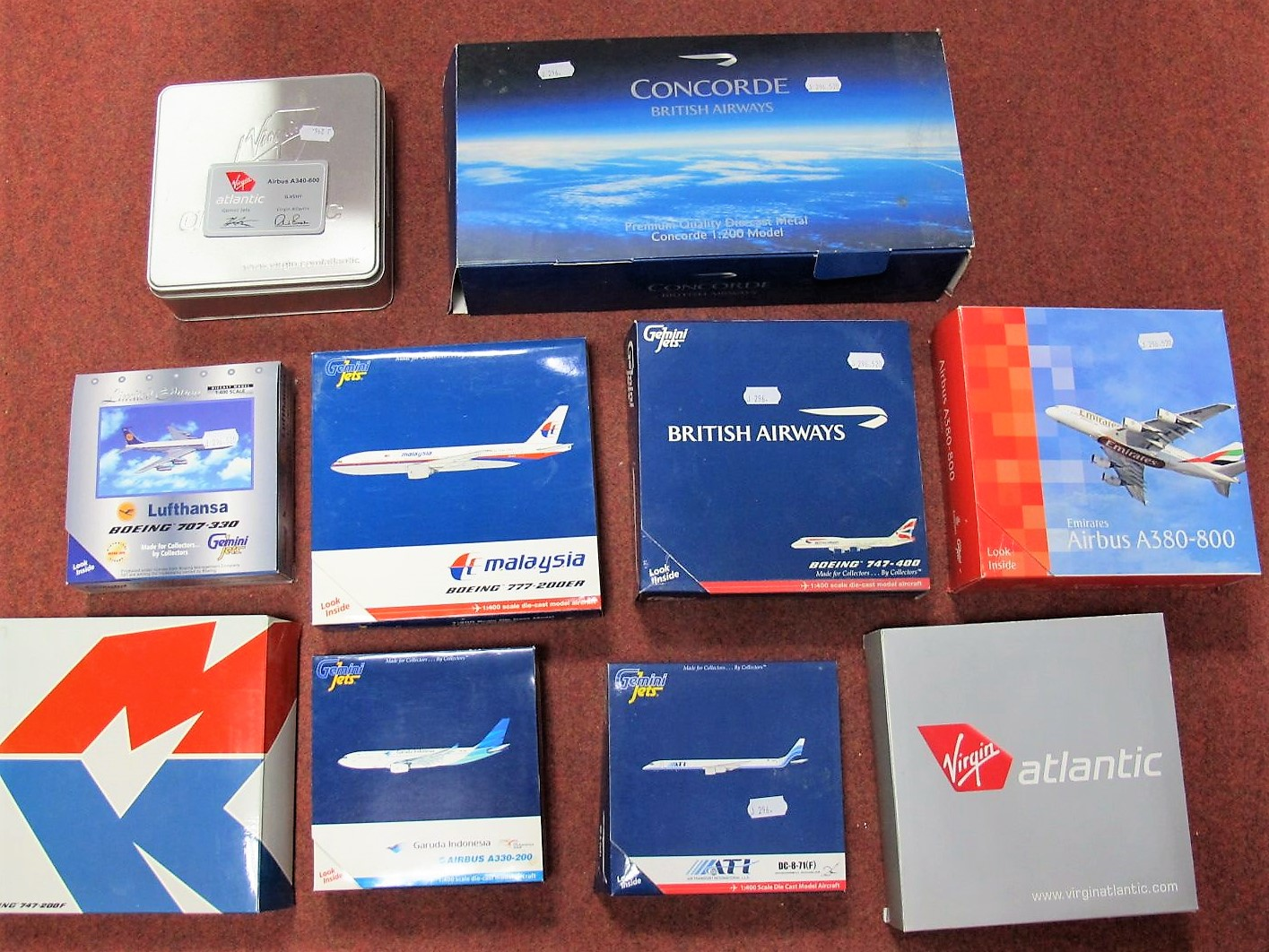 Lot 31 - Ten Boxed Diecast Commercial Aircraft of Differing Scale, Gemini Jets being the prominent