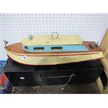 A Wooden Constructed Twin Screw Electric Powered Motor Boat, mid XX Century with dual motors, in a