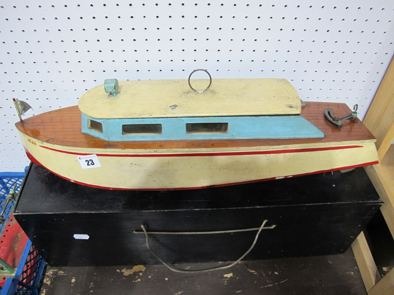 Lot 23 - A Wooden Constructed Twin Screw Electric Powered Motor Boat, mid XX Century with dual motors, in a