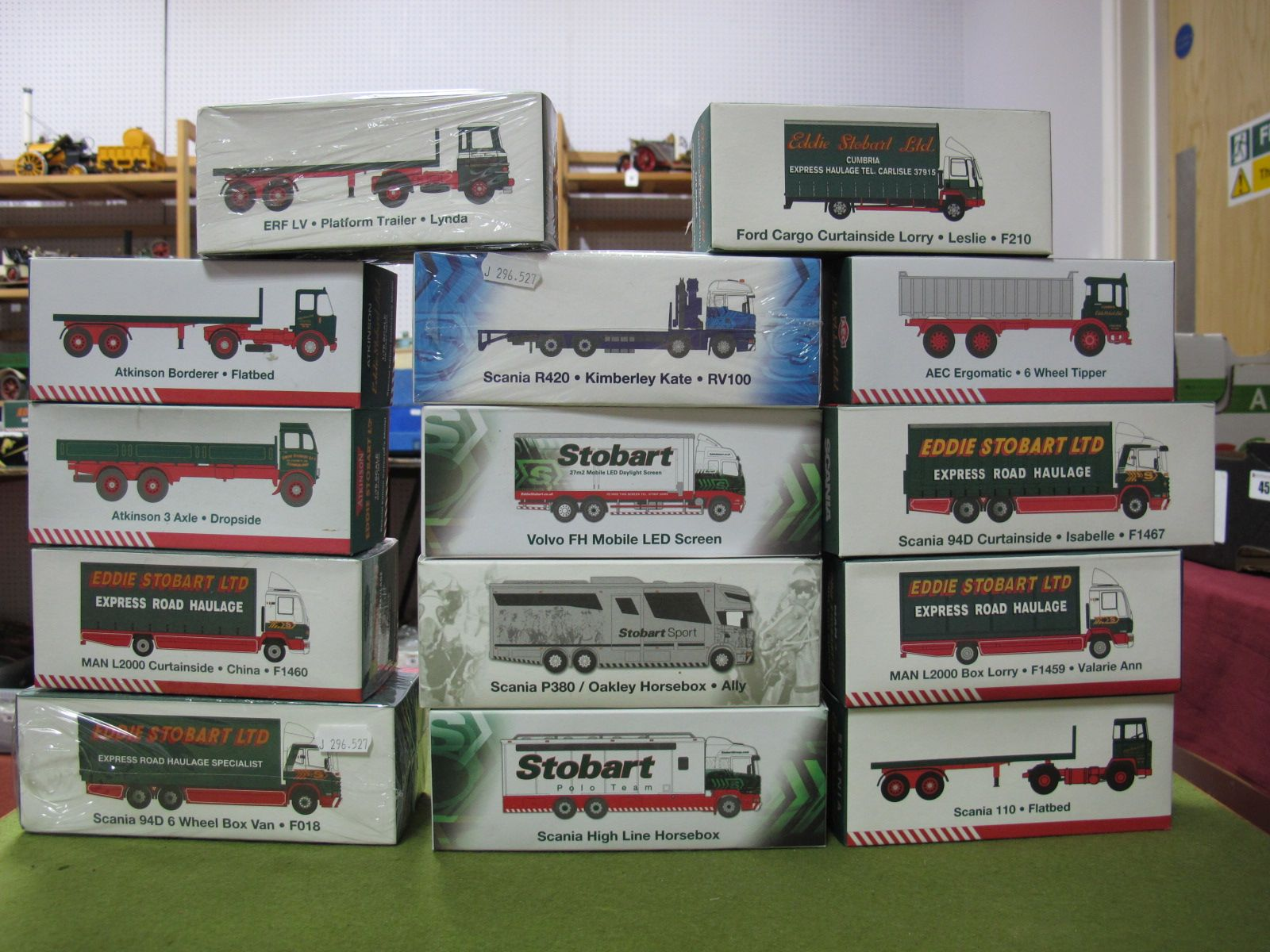Lot 48 - Fourteen Boxed Atlas Editions 1:76th Scale Eddie Stobart Diecast Commercial Vehicles, including