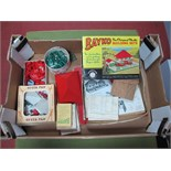 A Quantity of Post War Red and Green Bayko Plastic Building Set parts, some boxed, including