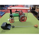 A Mamod Live Steam TE1A Traction Engine, model has been steamed, with scuttle and in correct