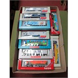 """Twenty """"HO"""" Scale German Outline Plastic Commercial Vehicles, by Albedo, AMW Spezial, Herpa,"""