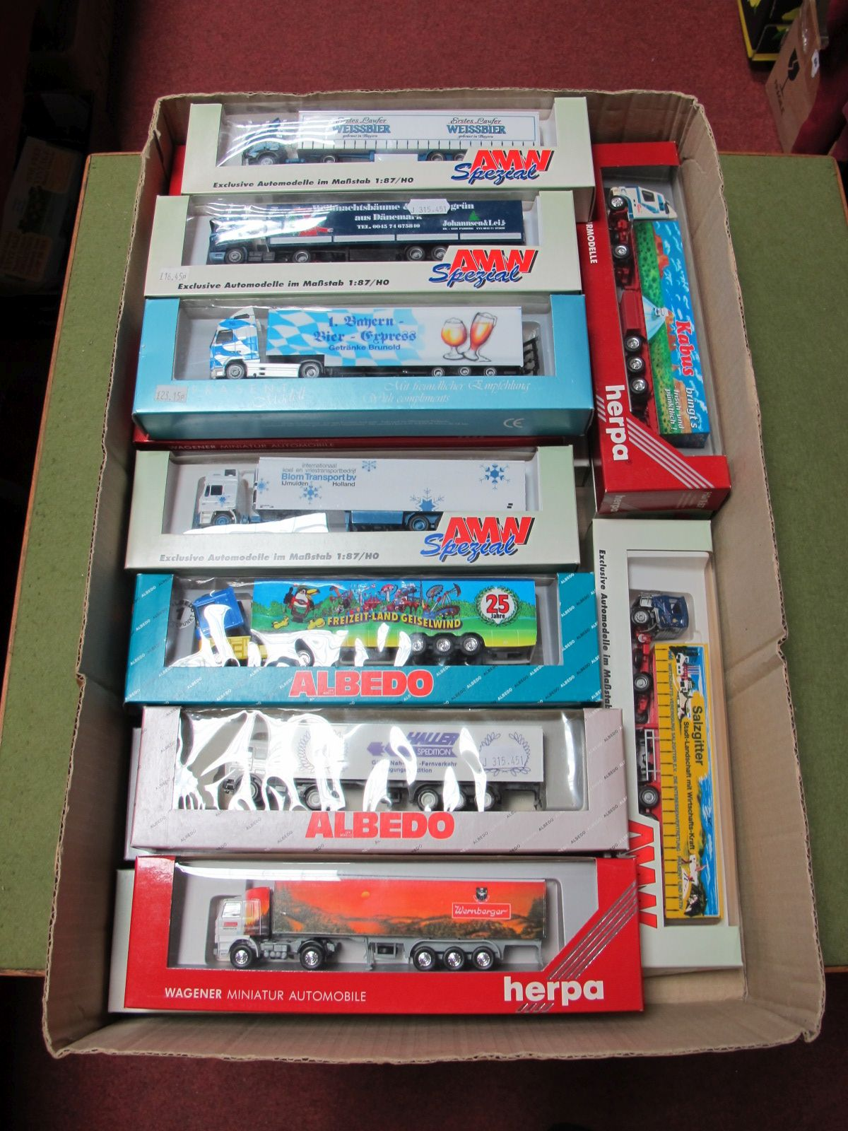 """Lot 57 - Twenty """"HO"""" Scale German Outline Plastic Commercial Vehicles, by Albedo, AMW Spezial, Herpa,"""
