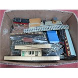 A Hornby Dublo Three Rail 2-6-4 Steam Locomotive, with platforms, carriages, three rail track and
