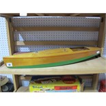 A Mid XX Century Wooden Constructed Mono Hull Speed Boat Model Fitted With Electric Motor, '