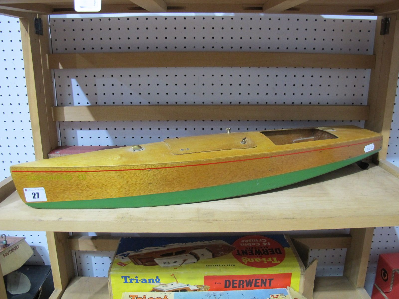 Lot 27 - A Mid XX Century Wooden Constructed Mono Hull Speed Boat Model Fitted With Electric Motor, '