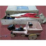 A boxed Gen Toy Fibreglass and Wooden Constructed 'Sea Rover' Catamaran, with steel keel and box.