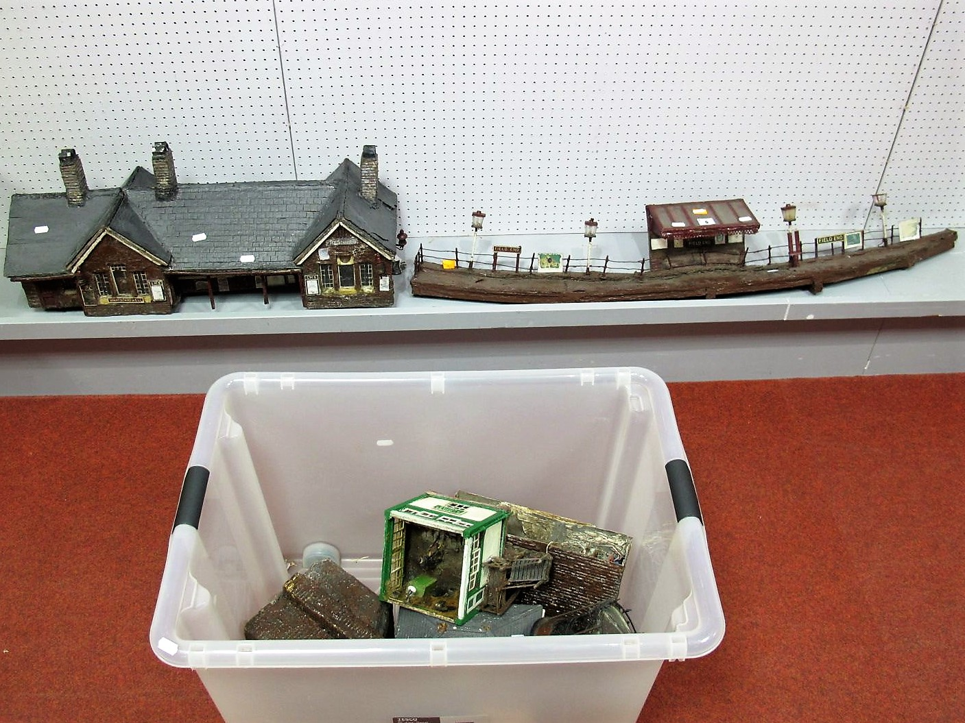 Lot 6 - A Quantity of 'G' Scale Homemade Railway Buildings, including station, platform, signal box,