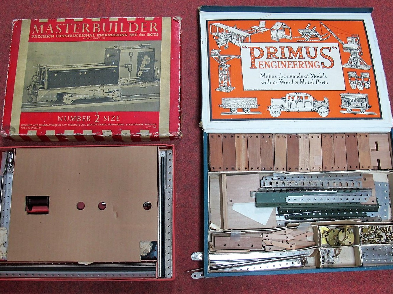 Lot 35 - Two Boxed Mid XX Century Construction Sets, both along the lines of Meccano. Primus Engineering