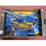 A Quantity of 1970's Blue and Yellow Meccano, including a live steam boiler, pulleys, flats, girders