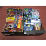 Two Boxes of Carded Action Figures, including The Shadow, Star Trek, Space Precinct, Exo Squad,
