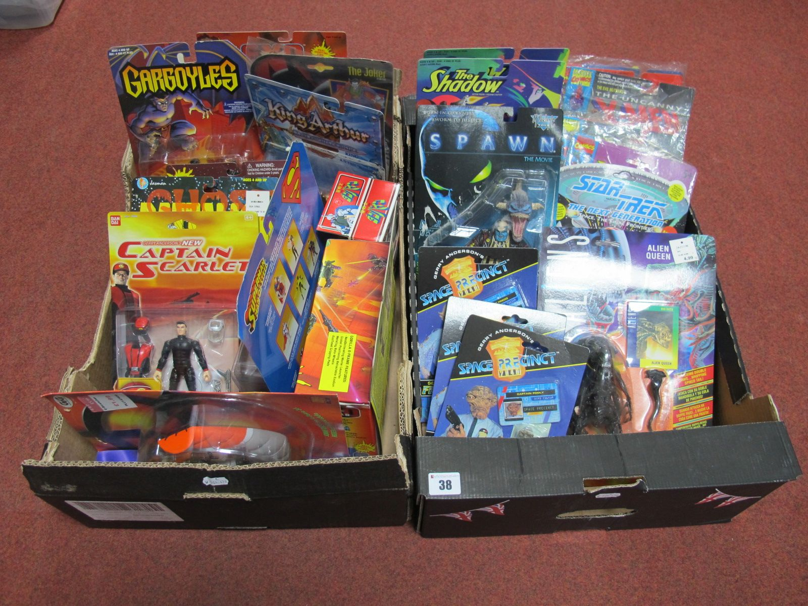 Lot 38 - Two Boxes of Carded Action Figures, including The Shadow, Star Trek, Space Precinct, Exo Squad,
