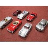 Seven 1:18th Scale Highly Detailed Diecast Model Cars, by Revell, Hot Wheels, Maisto and Burago.