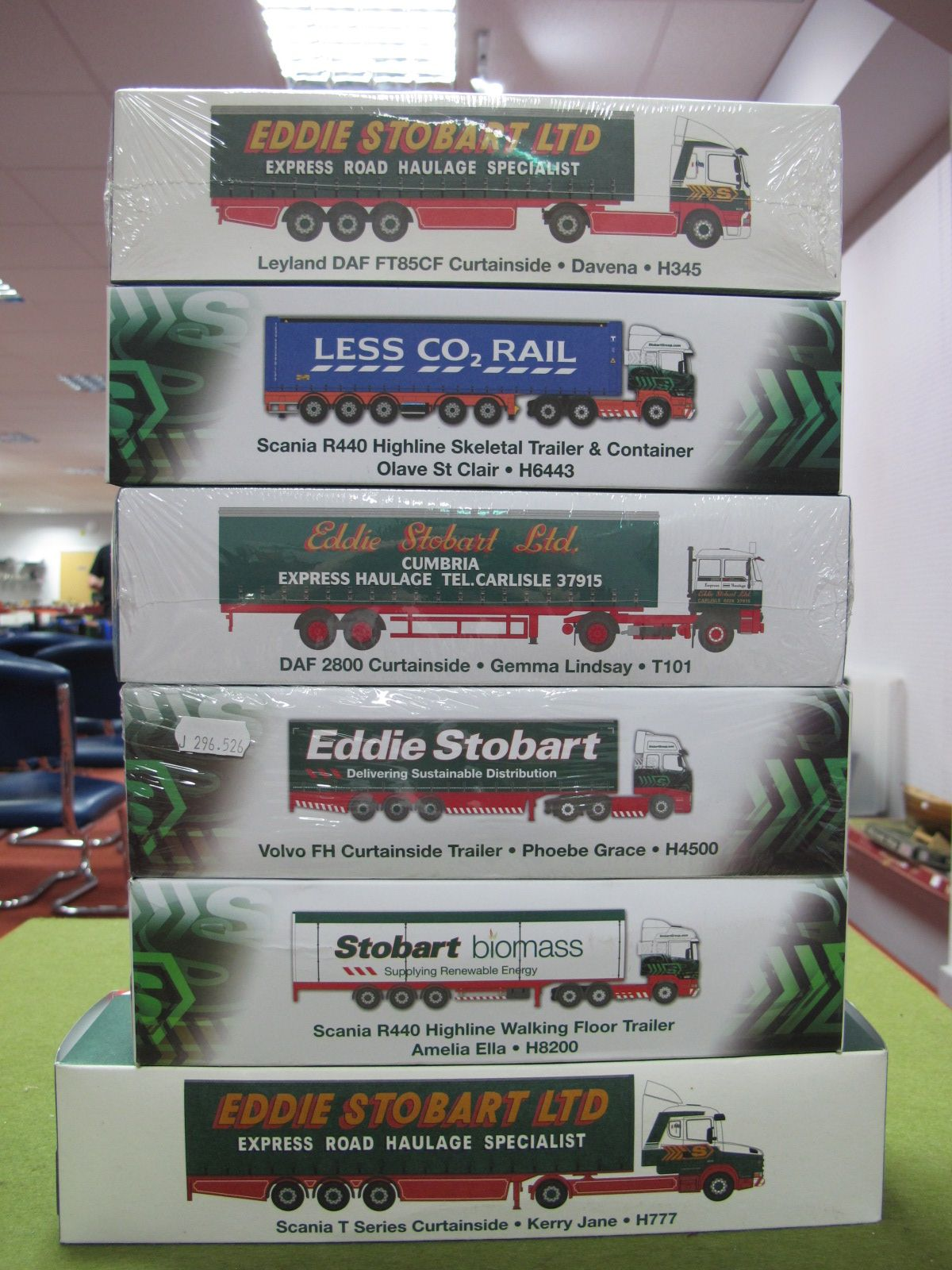 Lot 20 - Six Boxed Atlas Editions 1:76th Scale Eddie Stobart Diecast Commercial Vehicles.