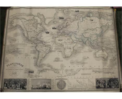 A 19TH CENTURY MAP OF THE WORLD - PLANISPHERE ILLUSTRÉ BY VUILLEMIN OF PARIS 1849, large map on linen 84.5 x 110.5 cm