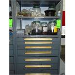 Shelves w/ drawers and contents ( O-rings, Cappers pins, Sprockets, Chain fittings, Capper belts,