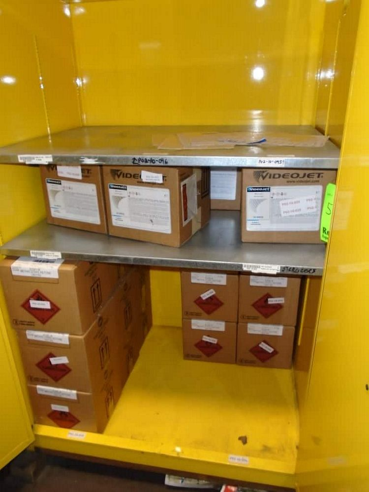 Lot 544RB - Contents of Cabinet ( Markem-Imaje Ink 15 boxes, Videojet Cleaning Solution 6 Boxes )
