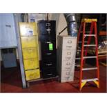 3 Filing Cabinets and Ladder