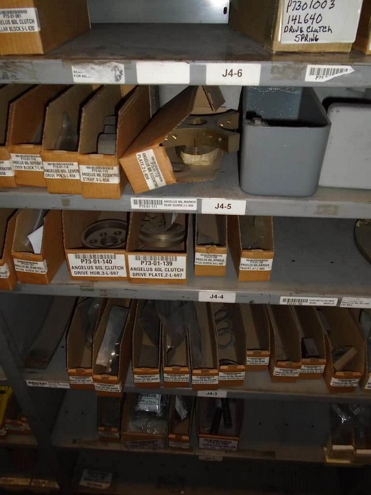 Lot 592RB - Contents of Shelves ( Assorted Angelus Parts)