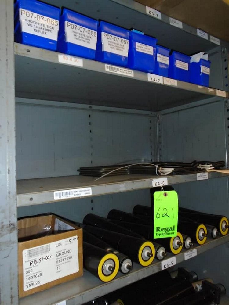 Lot 621RB - Contents of Shelves ( Assorted Conveyor Rollers)