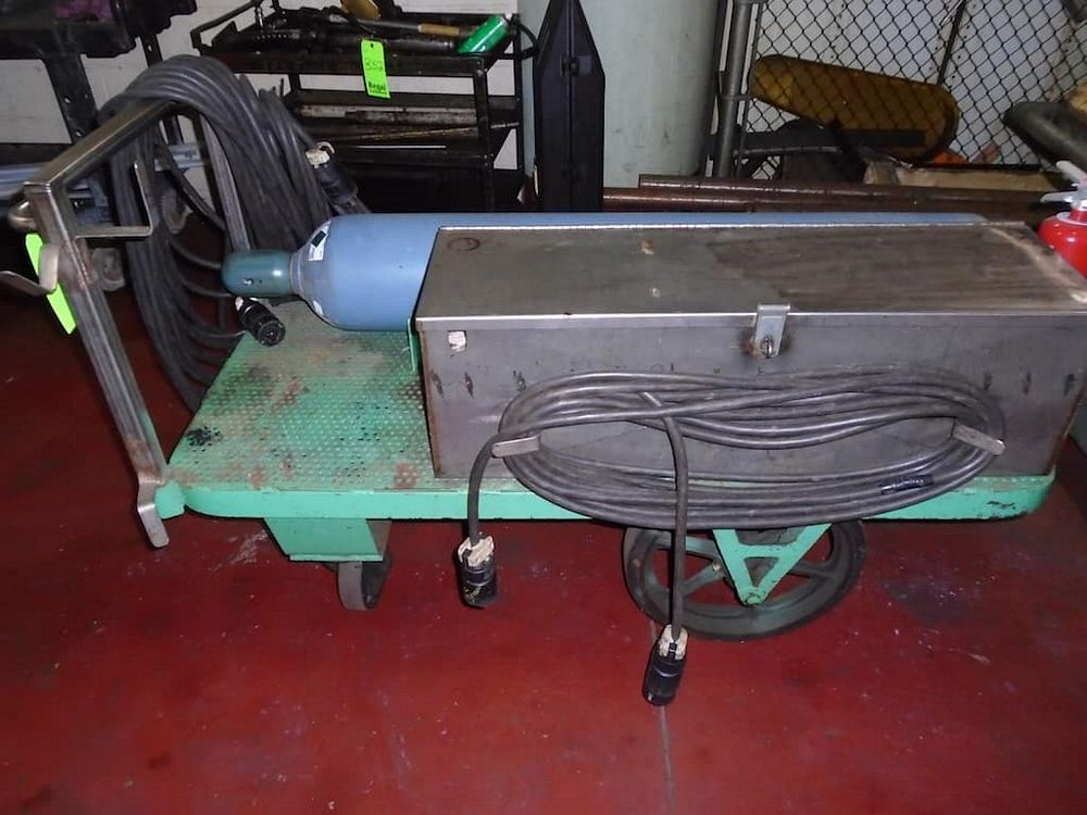 Lot 353RB - Cart and Stainless Steel Box and Contents