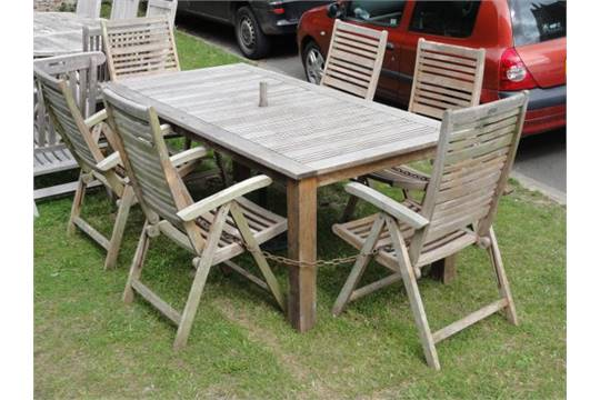 Auction date: - A Laura Ashley Outdoor Living Contemporary Weathered Teak Garden