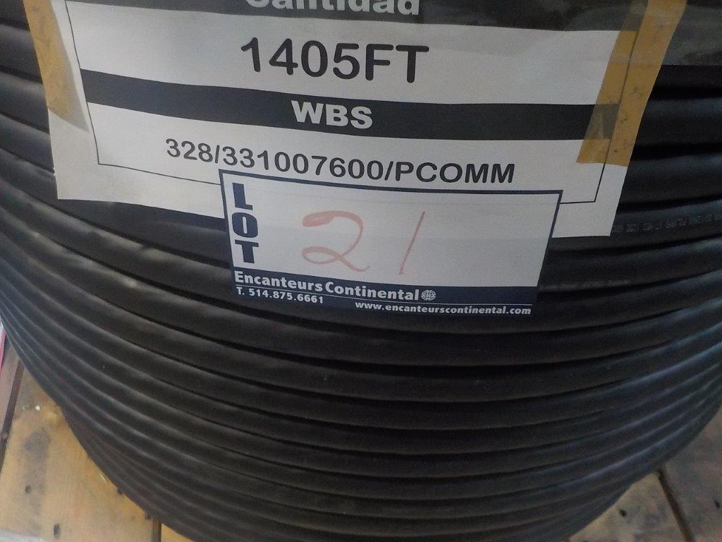 Lot 21 - lot: wire / fils: comm. jumper (end# 2), ……….. (1405')