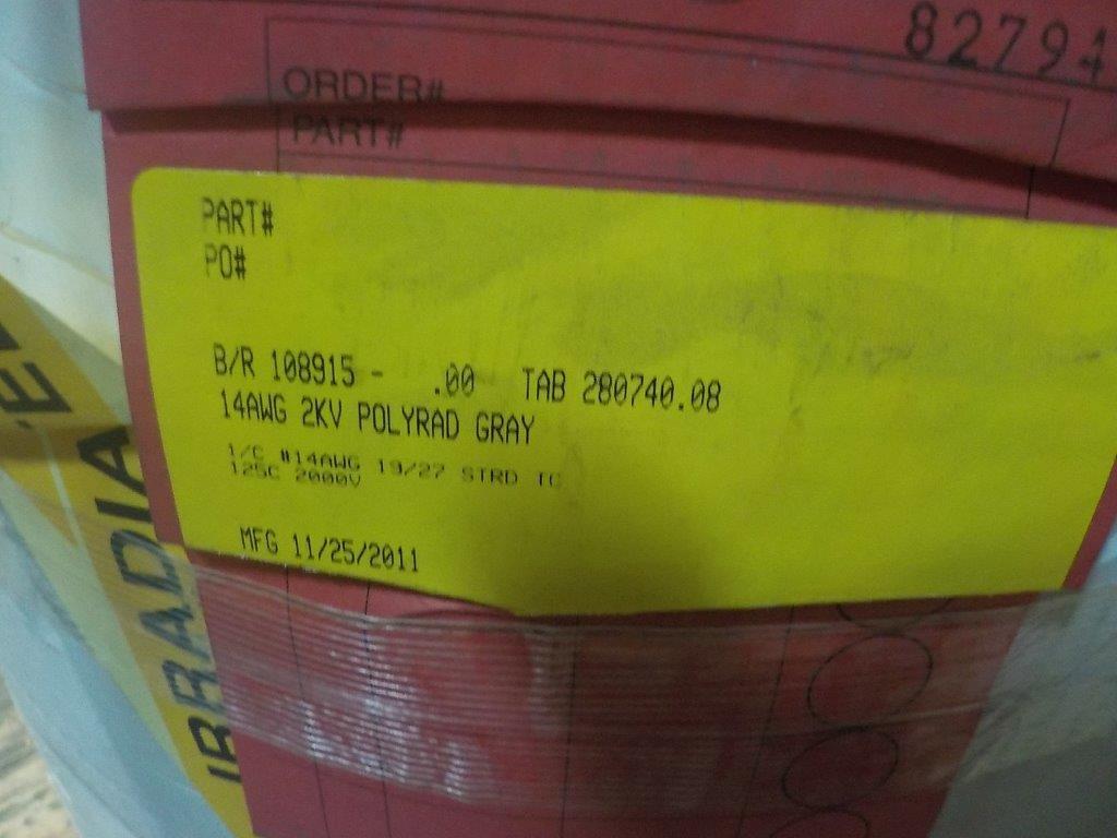 Lot 8 - lot: wire / fils: # 14 AWG 2KV Polyrad Gray (5,000')
