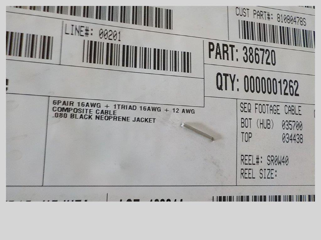 Lot 15 - lot: wire / fils: comm. jumper (end# 2), …….. (1,262')