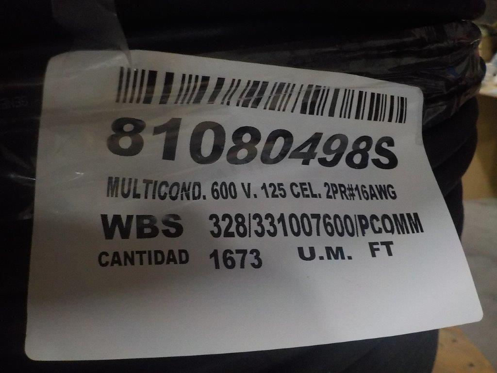 Lot 36 - lot: wire / fils: multiconductor, 2 pr, 16 AWG, 600V, 125 celcius (1,673')