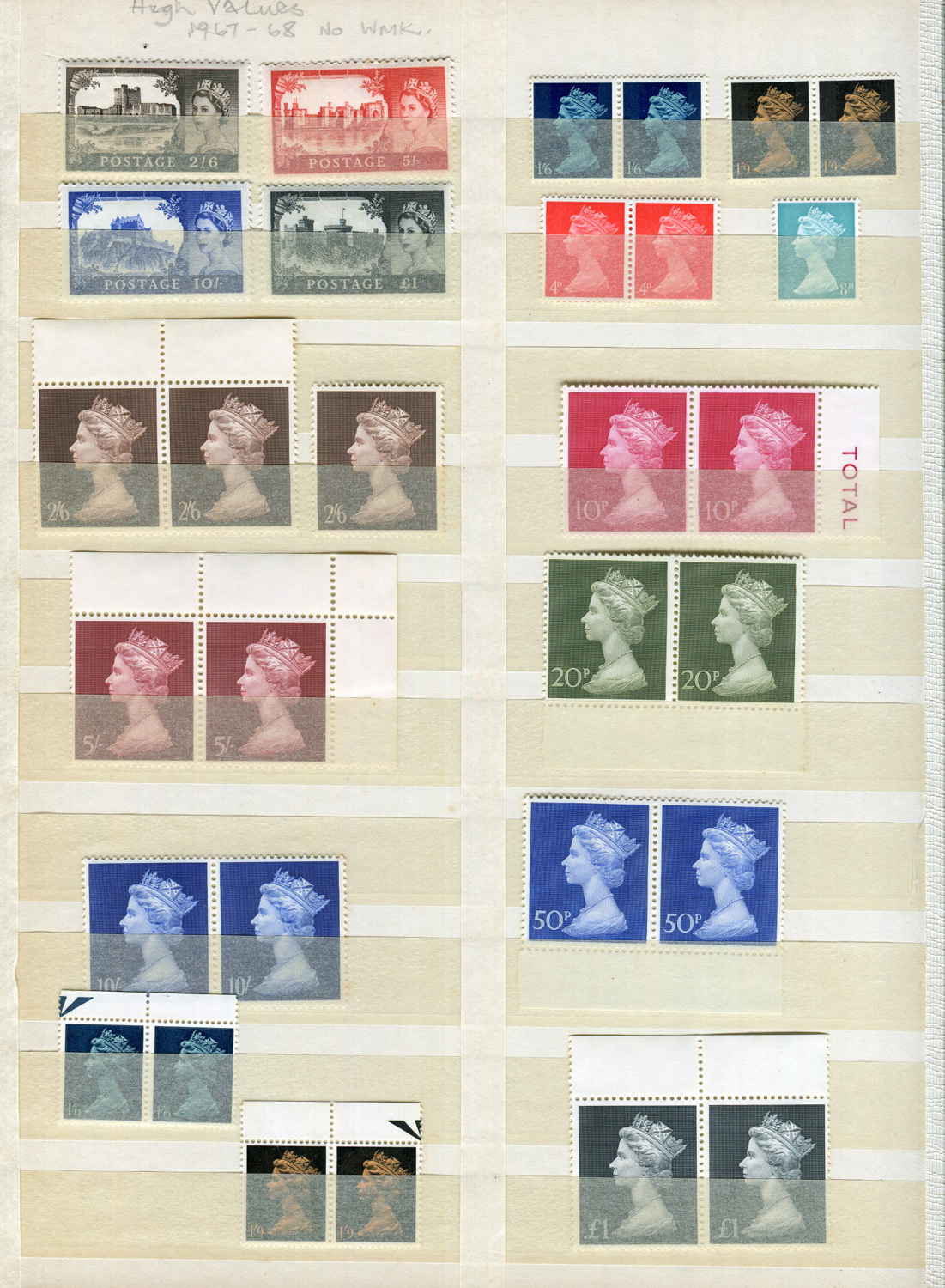 Lot 3052 - Two stock books containing Great Britain stamps, including Wildings unmounted mint sets from 1953
