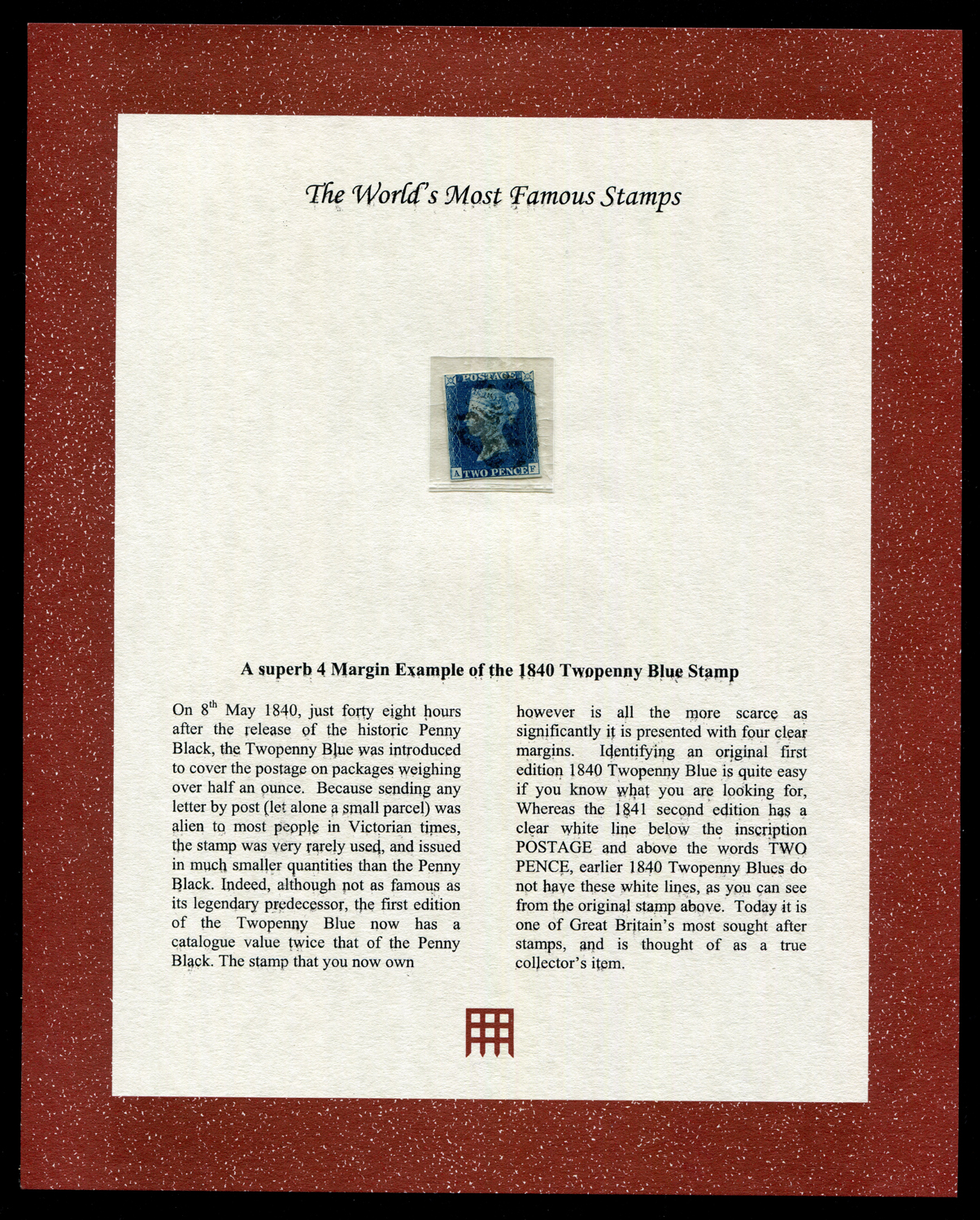 Lot 3020 - A Great Britain 1840 2d blue stamp, black Maltese cross, just with four margins.Buyer's Premium 29.