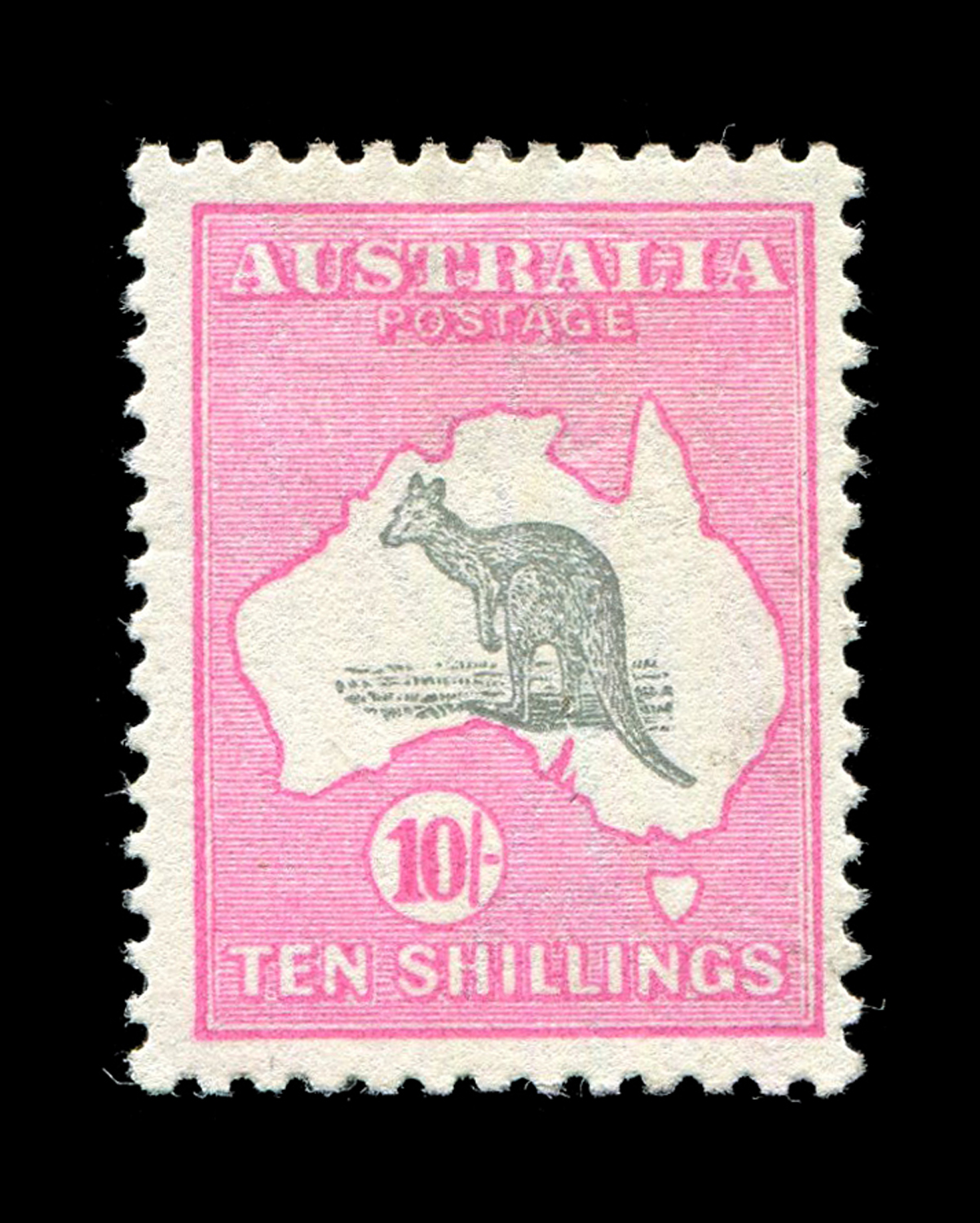 Lot 3010 - An Australia 1915 10 shillings grey and pale aniline pink stamp (SG 43B), fine mint.Buyer's