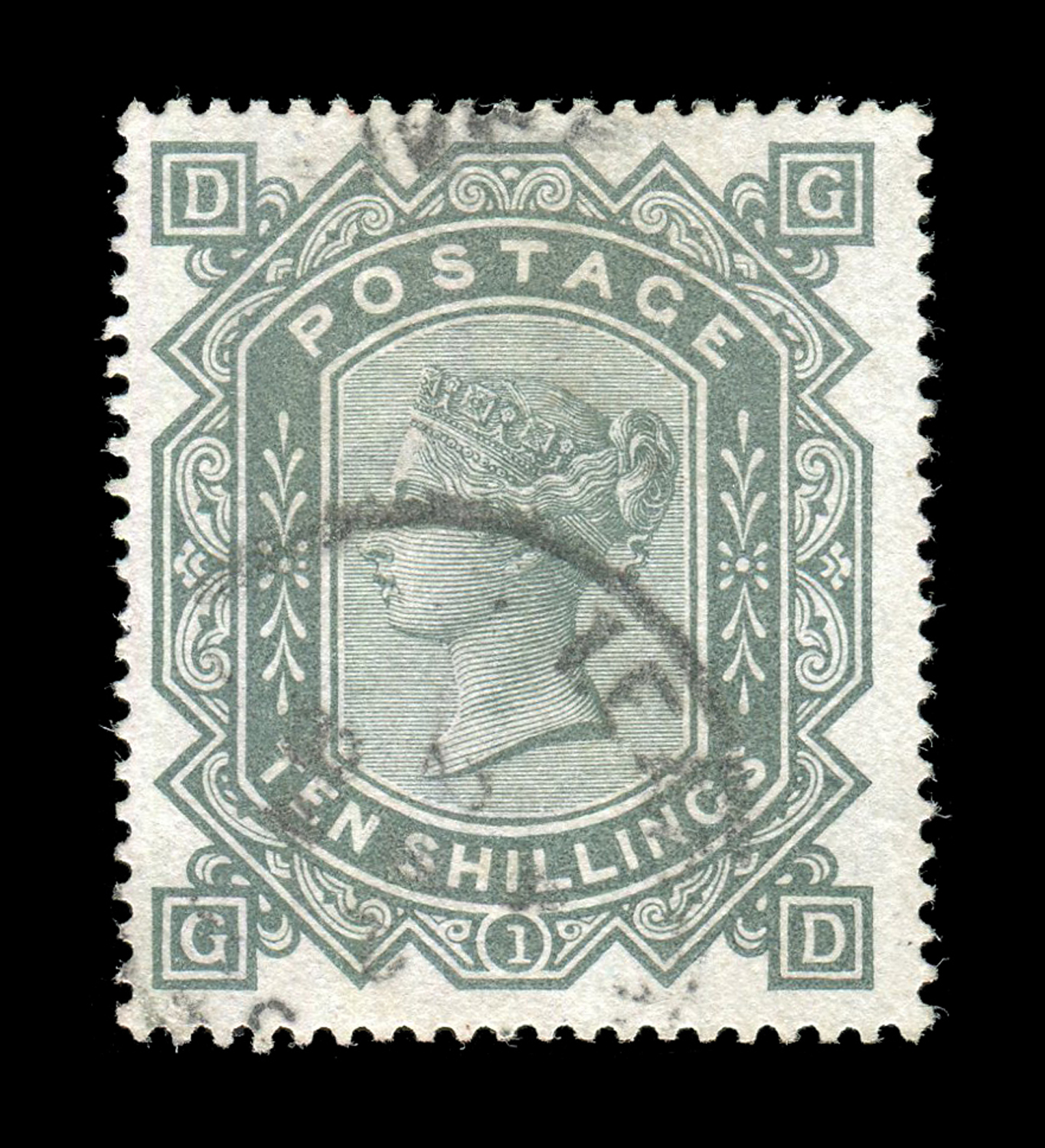 Lot 3002 - A Great Britain 1883 10 shillings greenish grey stamp, anchor watermark (SG 135) used.Buyer's