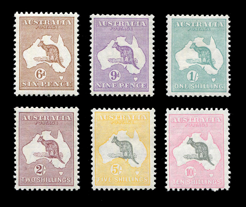 Lot 3011 - An Australia 1929 6d to 10 shillings (SG 107-112) fine mint set of 6 stamps.Buyer's Premium 29.4% (