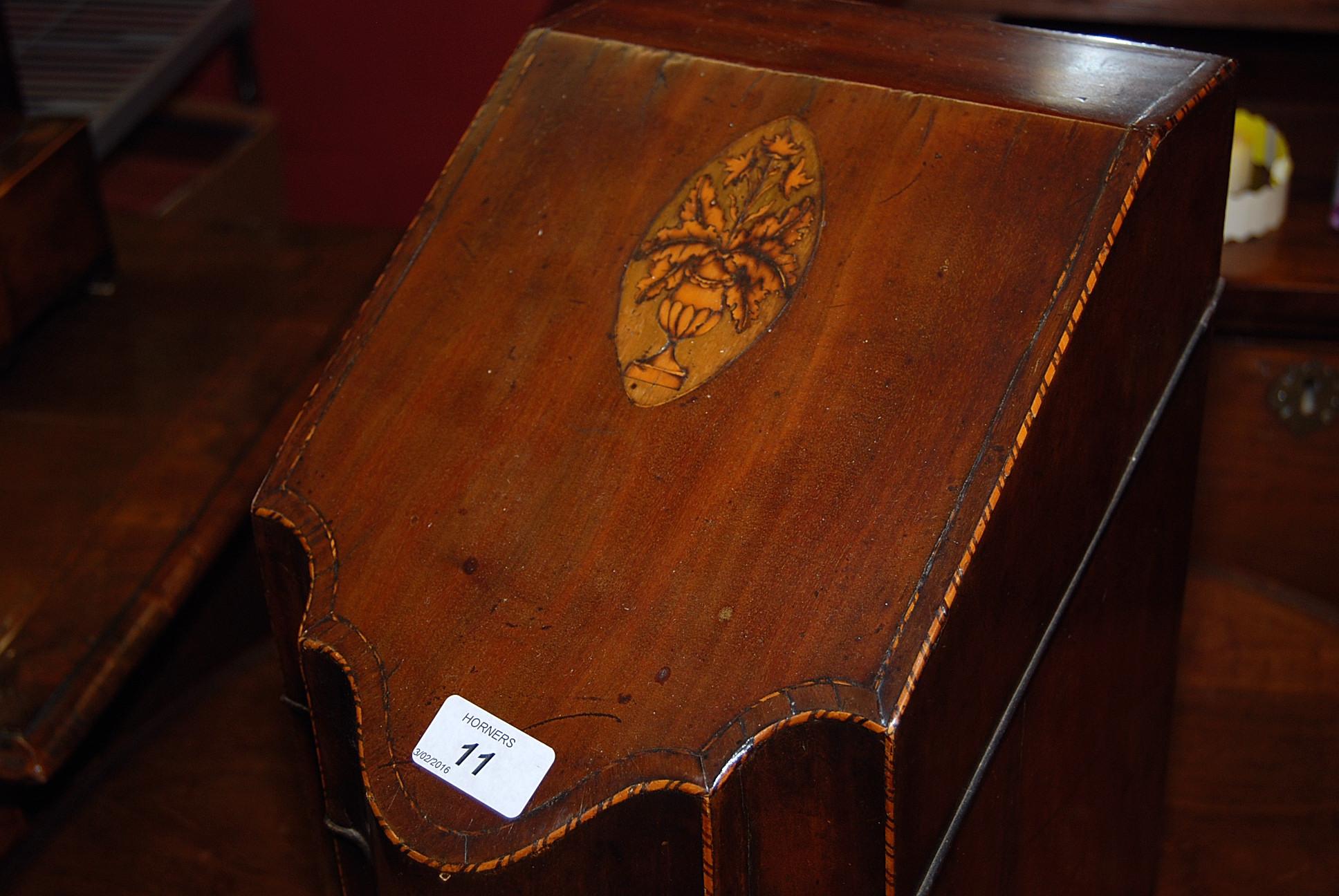 Lot 11 - A GEORGE III MAHOGANY KNIFE BOX