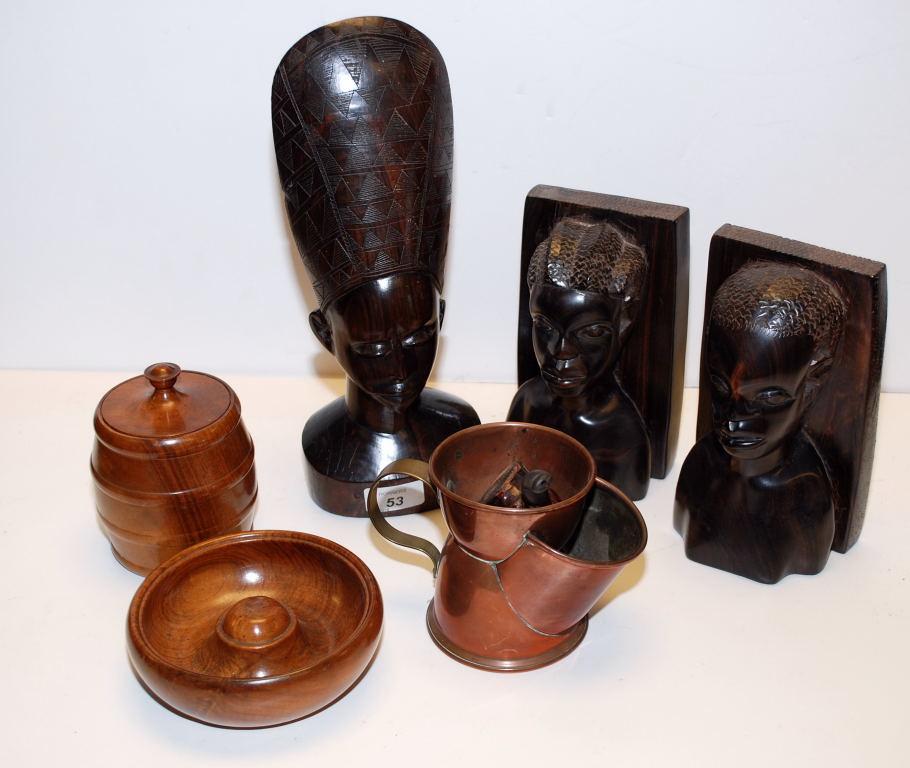 Lot 53 - THREE HARD-WOOD AFRICAN WOOD CARVINGS, TOBACCO  JAR,
