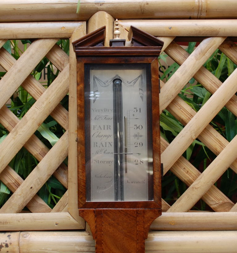 Lot 7 - A GEORGE III STICK BAROMETER BY NICHOLSON OF NEWCASTLE, MAHOGANY CASE INLAID WITH SHELL,