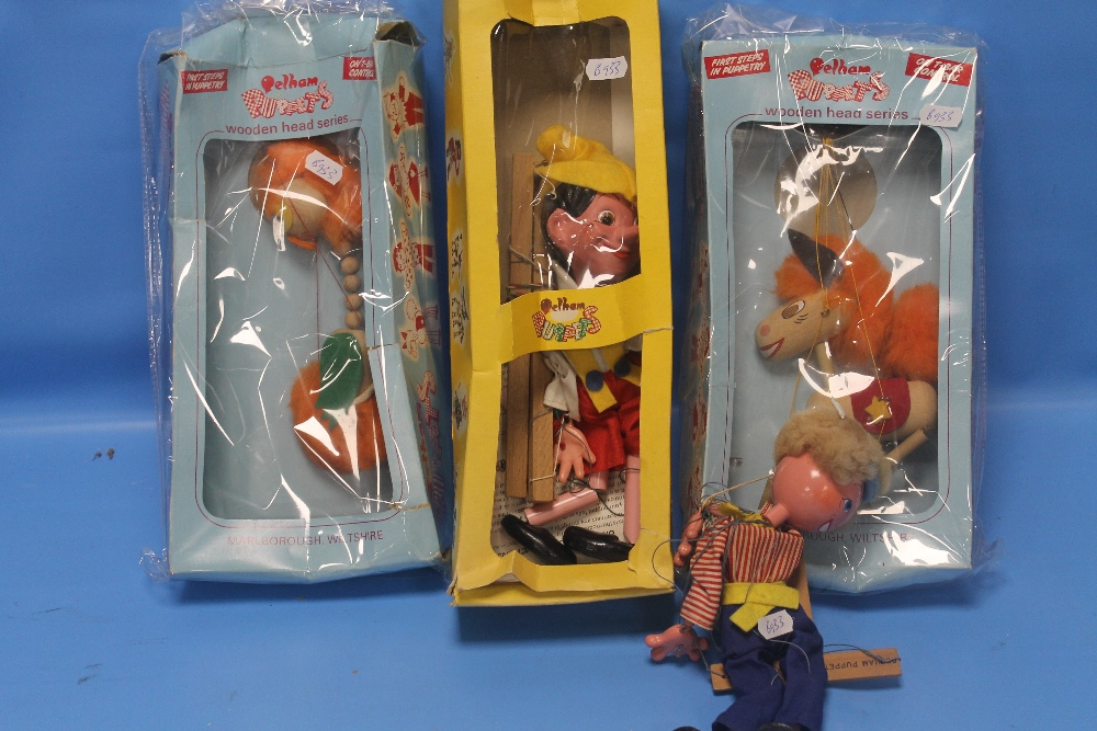 Lot 214 - A COLLECTION OF FOUR PELHAM PUPPETS TO INCLUDE PINOCCHIO