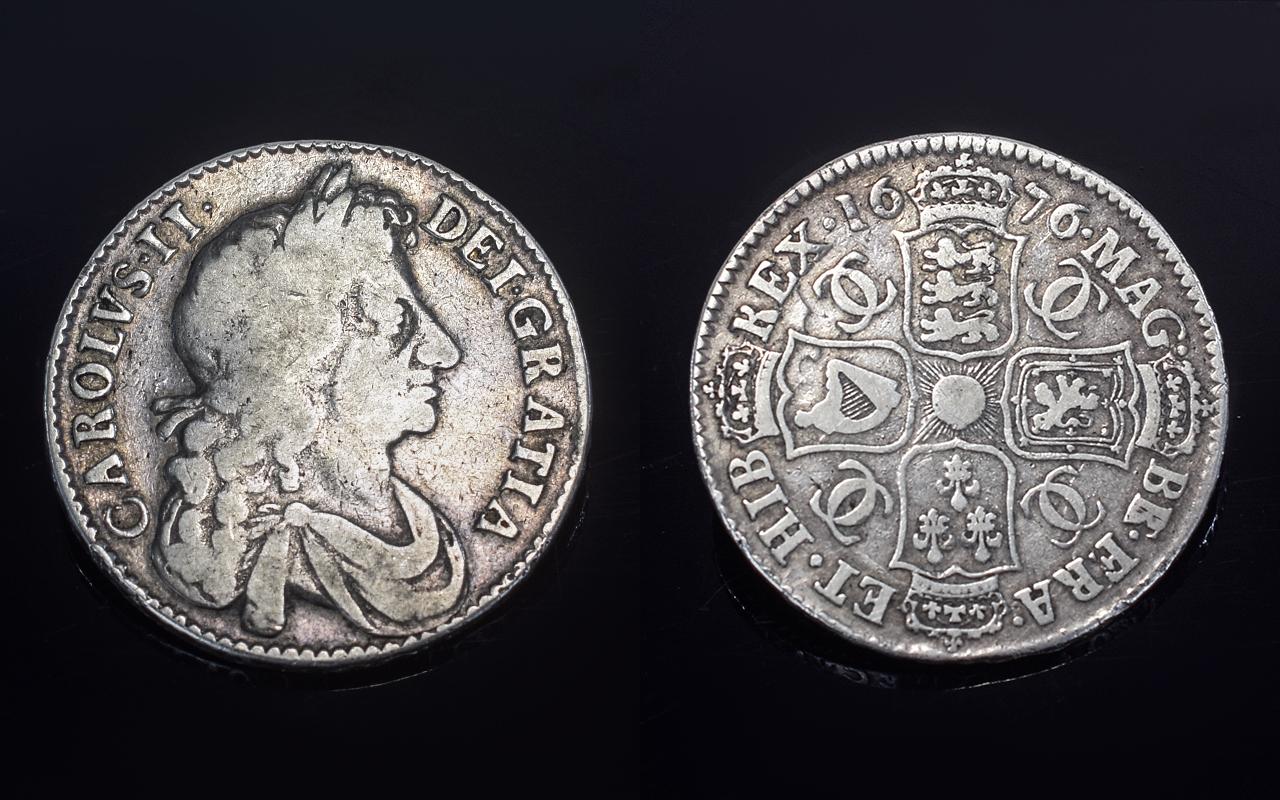 Lot 120 - Charles II Silver Half Crown. Date 1676,