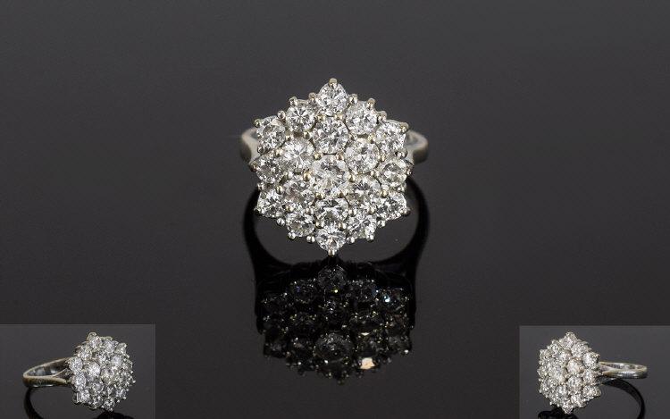 Lot 159 - 18ct White Gold Fine Diamond Cluster Rin