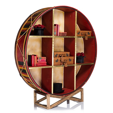 Lot 5 - Drum Bookcase Display 60 X 63 X 60cm The Designers Regiment Collection Draws Inspiration